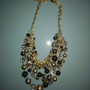 Lia sophia black and gold multi-layer necklace